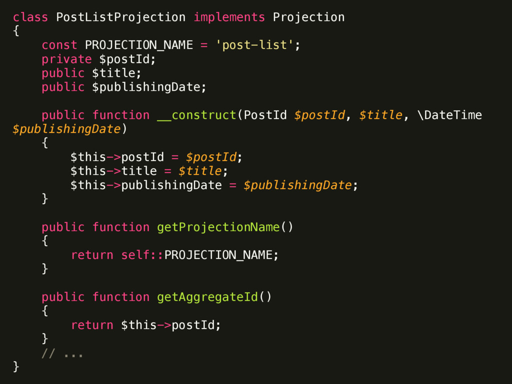 class PostListProjection implements Projection...