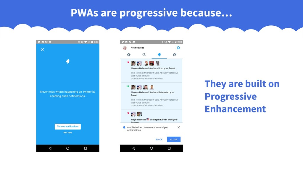 PWAs are progressive because… They are built on...