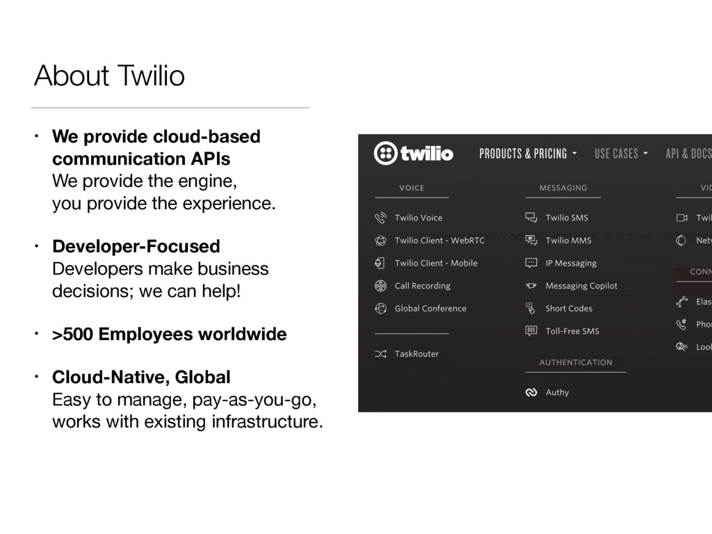 About Twilio • We provide cloud-based communica...
