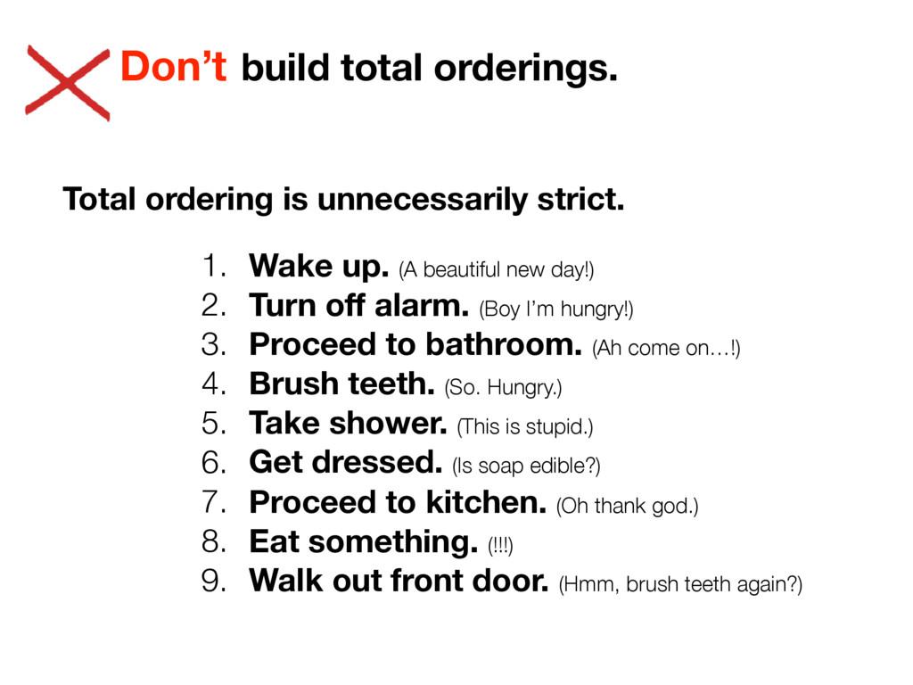 build total orderings. Don't Total ordering is ...