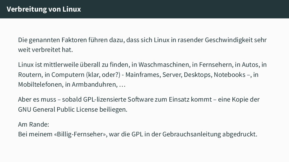 Verbreitung von Linux Die genannten Faktoren fü...