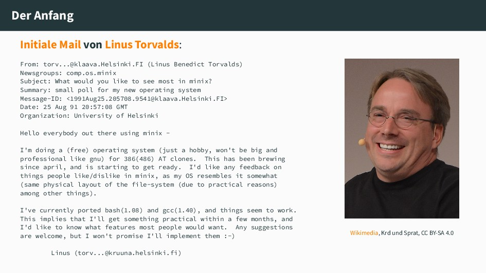 Der Anfang Initiale Mail von Linus Torvalds: Fr...