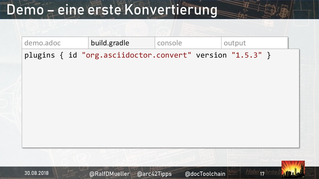 demo.adoc build.gradle console output plugins {...