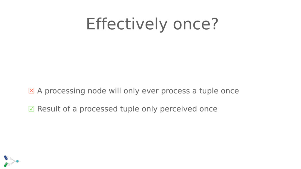☒ A processing node will only ever process a tu...