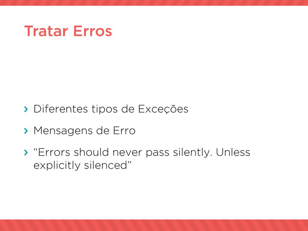 Tratar Erros Diferentes tipos de Exceções Mensa...