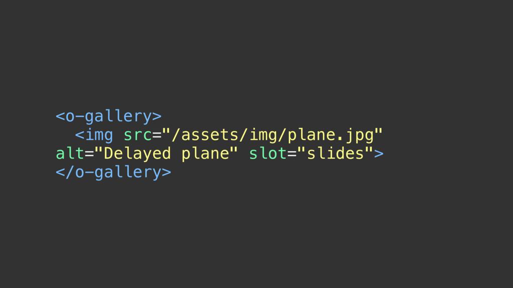 "<o-gallery> <img src=""/assets/img/plane.jpg"" al..."