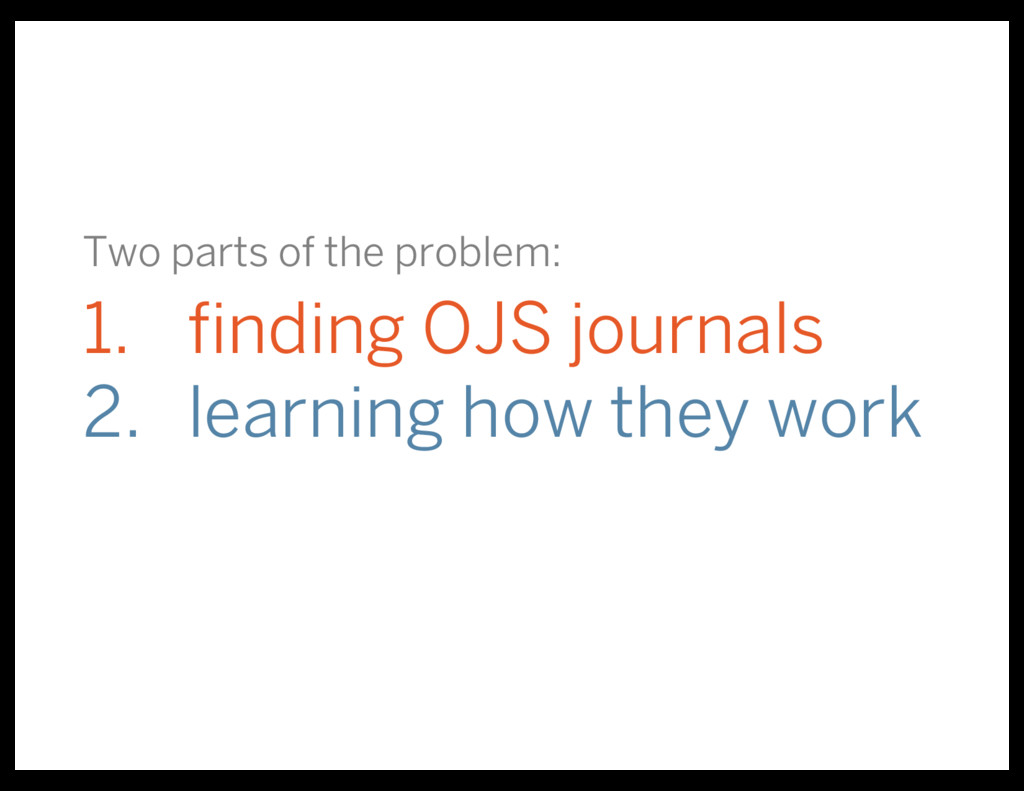Two parts of the problem: 1. finding OJS journa...