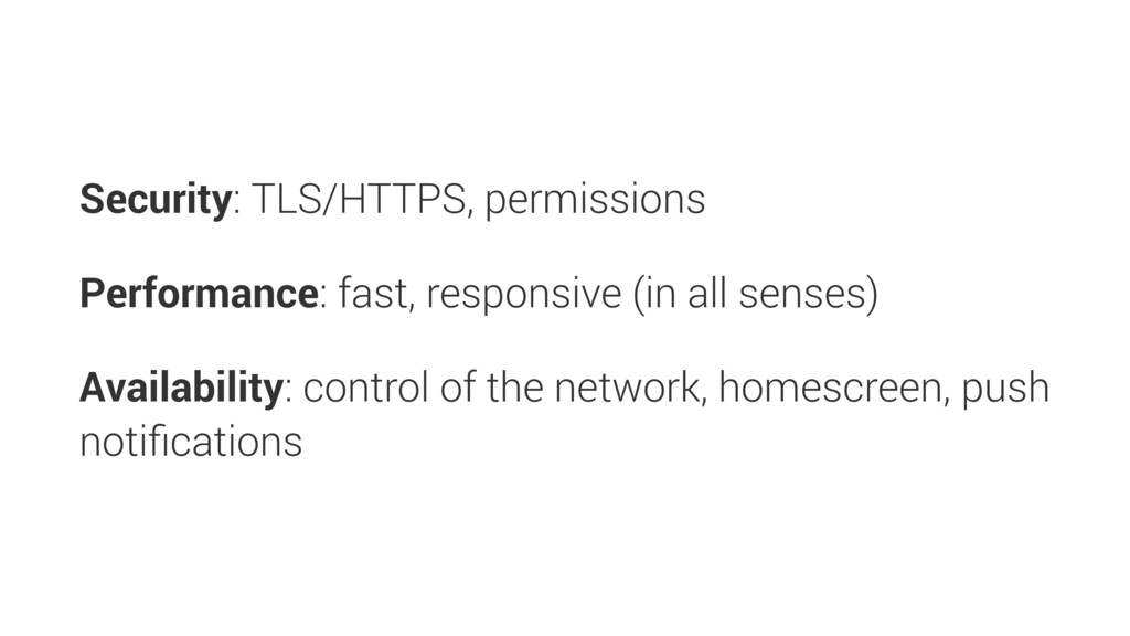 Security: TLS/HTTPS, permissions Performance: f...