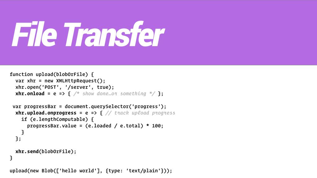 function upload(blobOrFile) { var xhr = new XML...