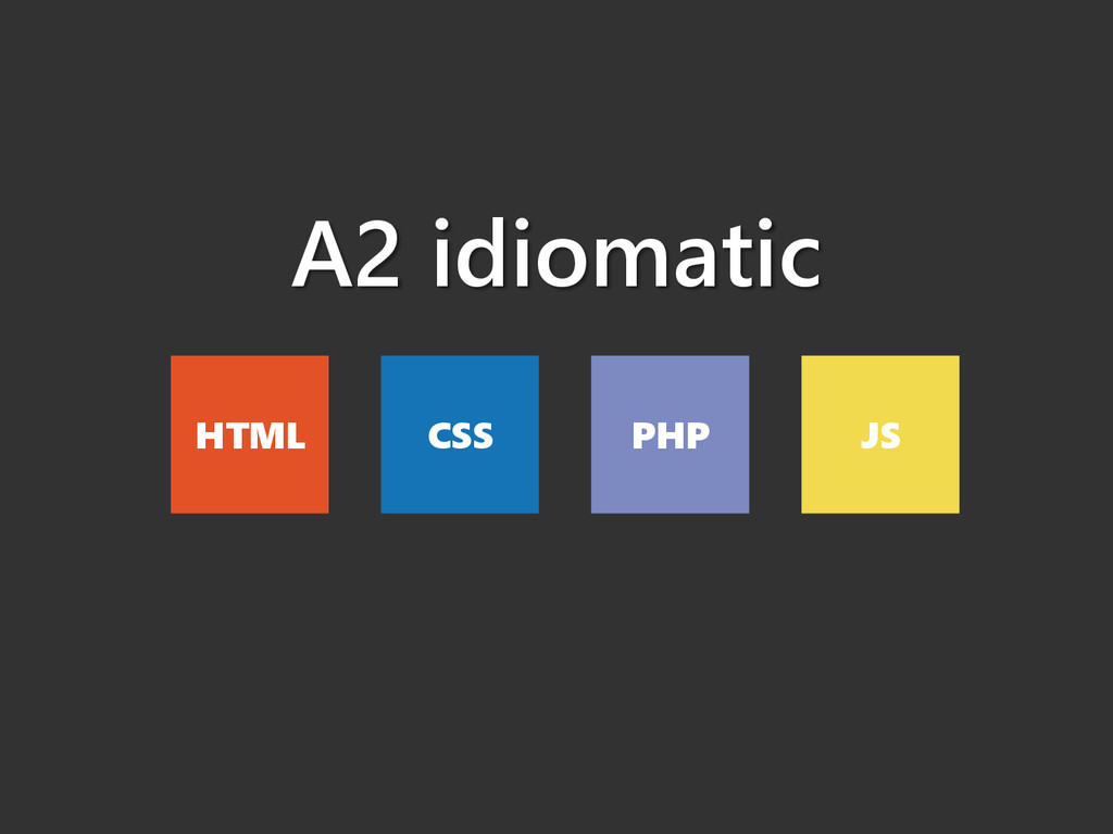 A2 idiomatic HTML CSS PHP JS