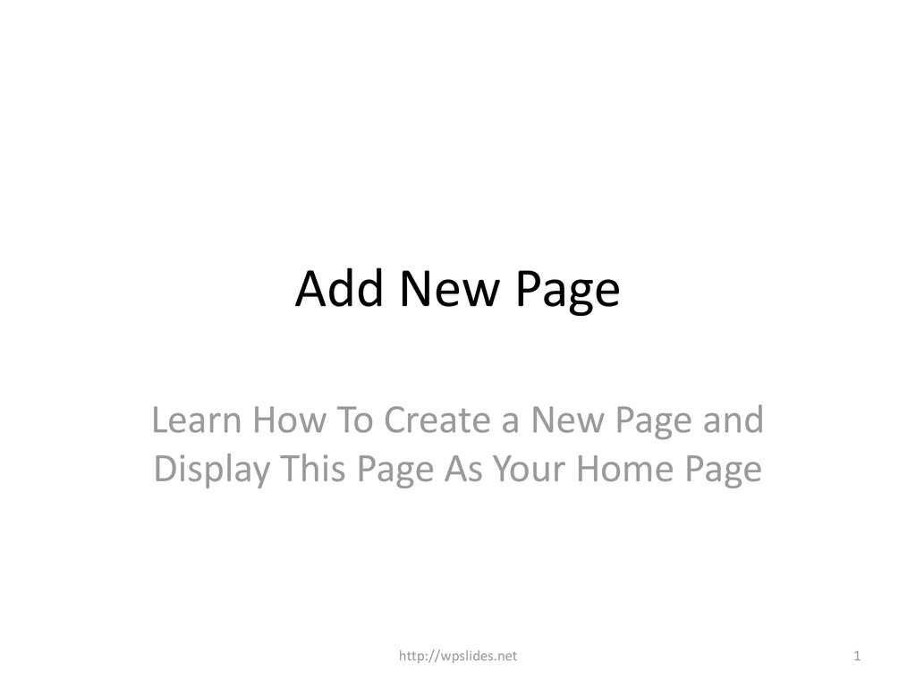 Add New Page Learn How To Create a New Page and...