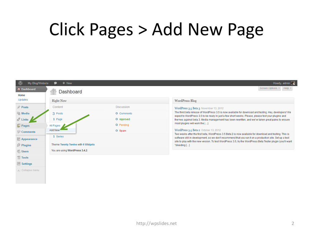 Click Pages > Add New Page http://wpslides.net 2