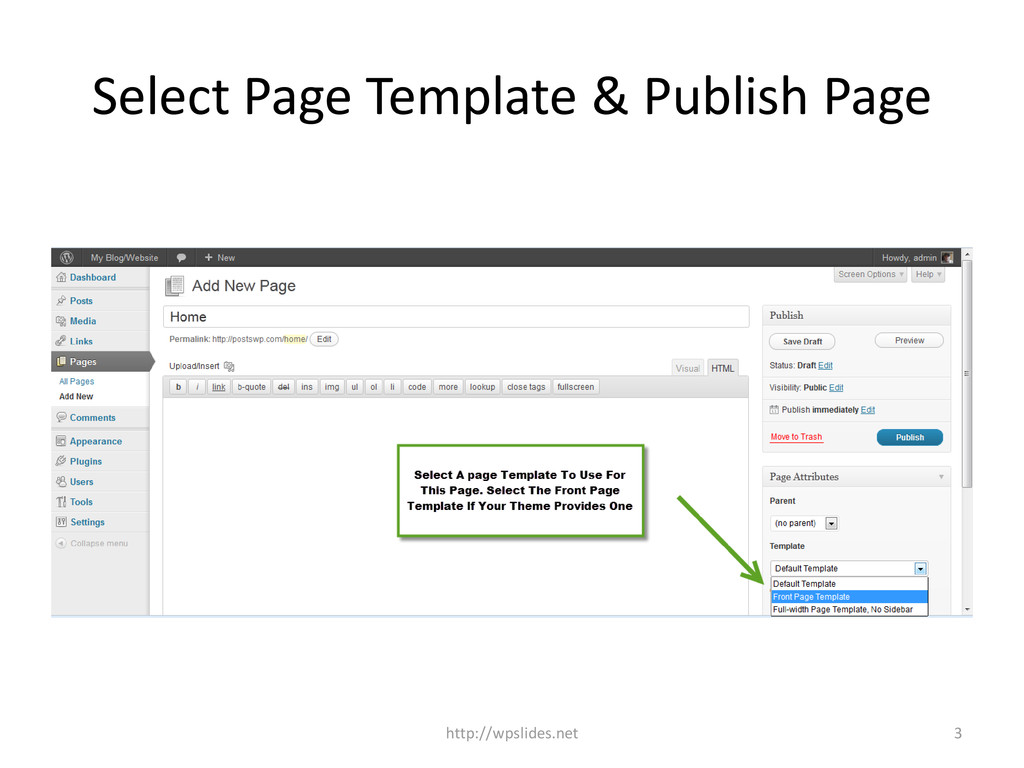 Select Page Template & Publish Page http://wpsl...