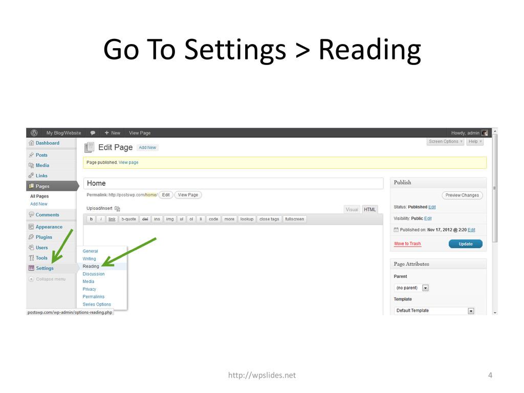 Go To Settings > Reading http://wpslides.net 4