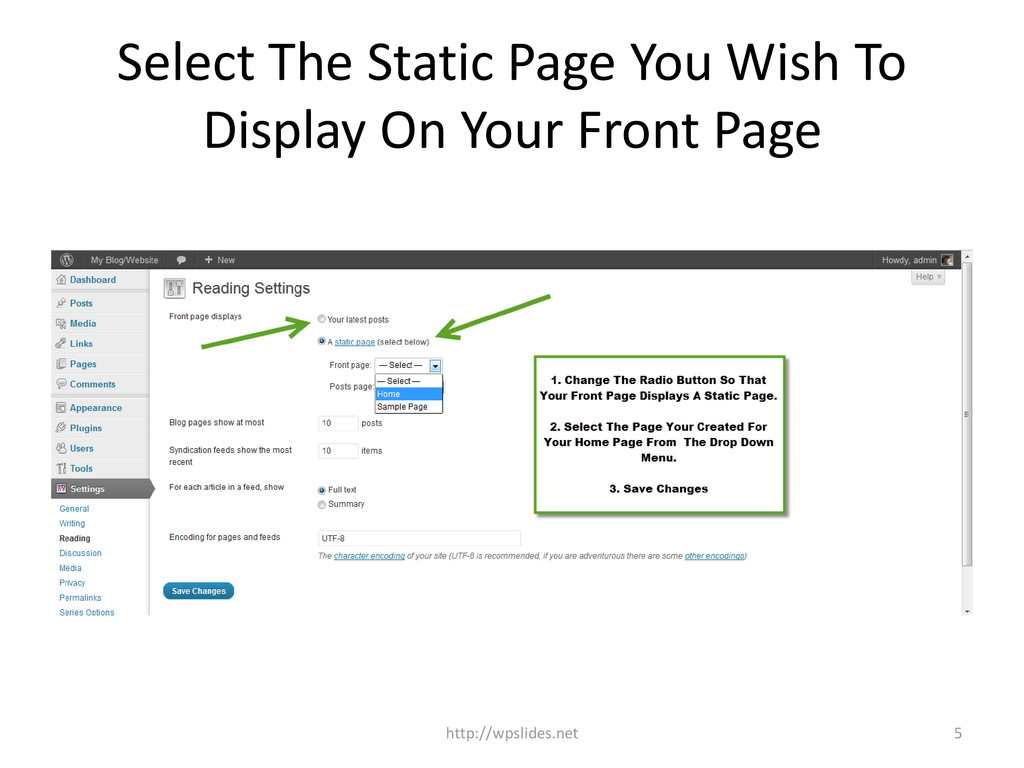 Select The Static Page You Wish To Display On Y...
