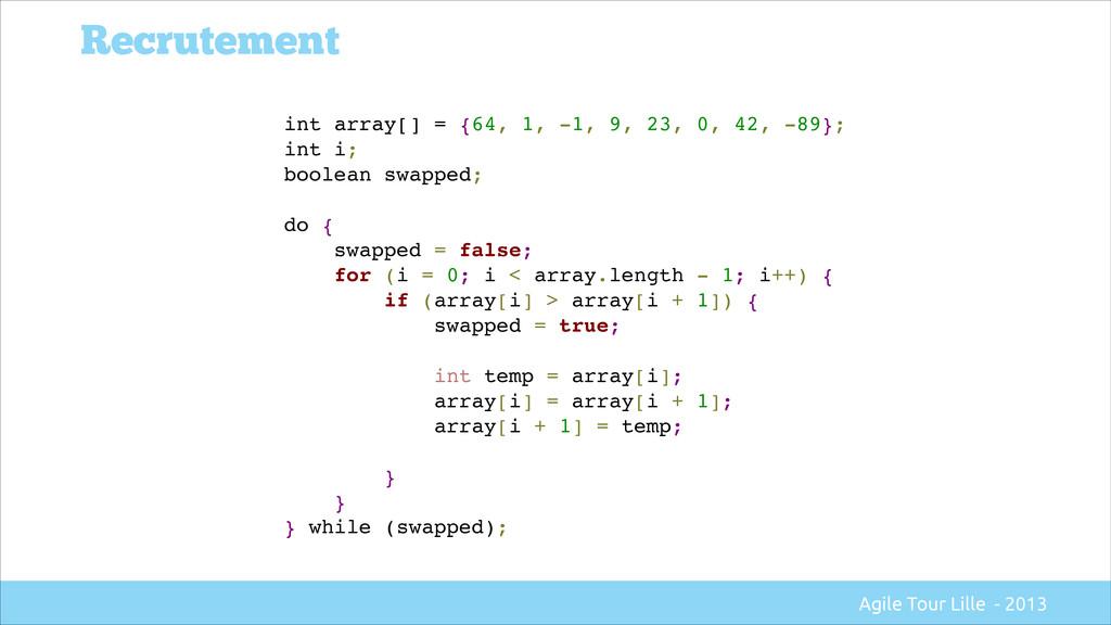 int array[] = {64, 1, -1, 9, 23, 0, 42, -89};! ...