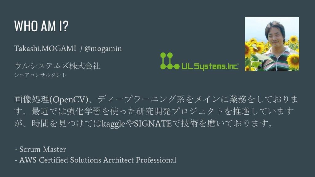 WHO AM I? Takashi,MOGAMI / @mogamin ウルシステムズ株式会社...