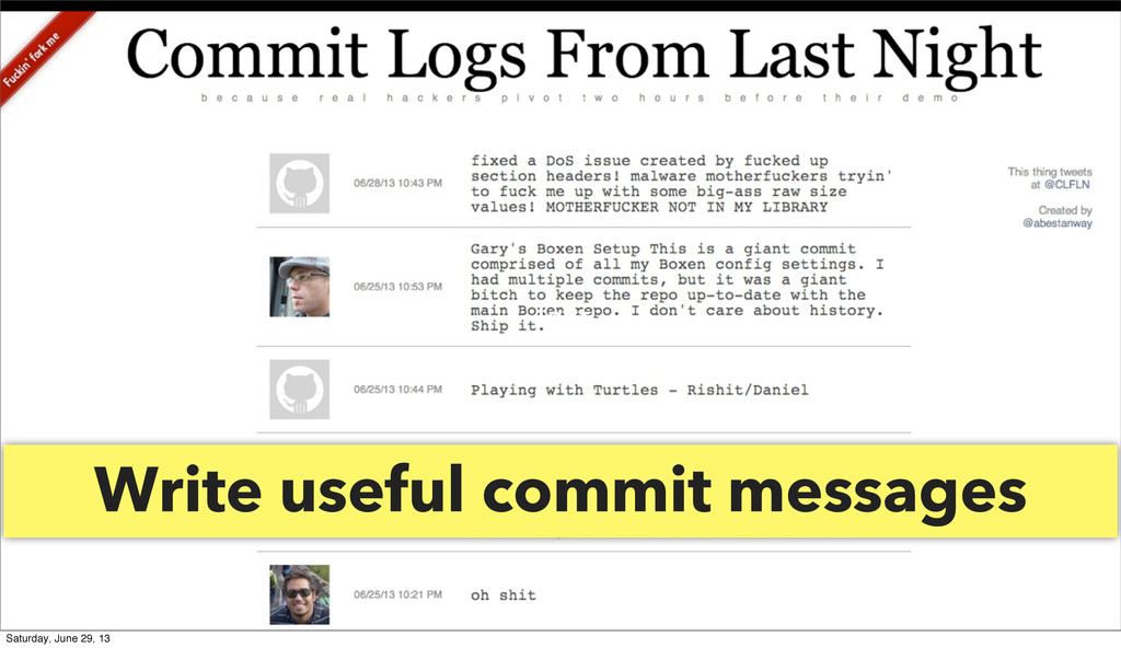 Write useful commit messages Text Saturday, Jun...