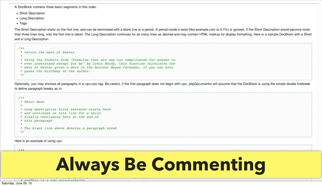 Always Be Commenting Saturday, June 29, 13