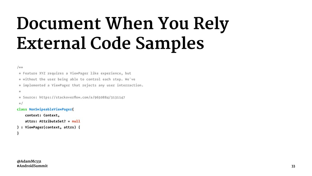 Document When You Rely External Code Samples /*...