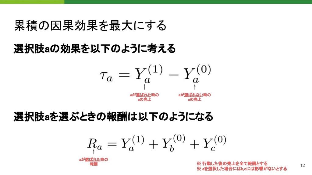 累積の因果効果を最大にする 選択肢aの効果を以下のように考える aが選ばれた時の aの売...