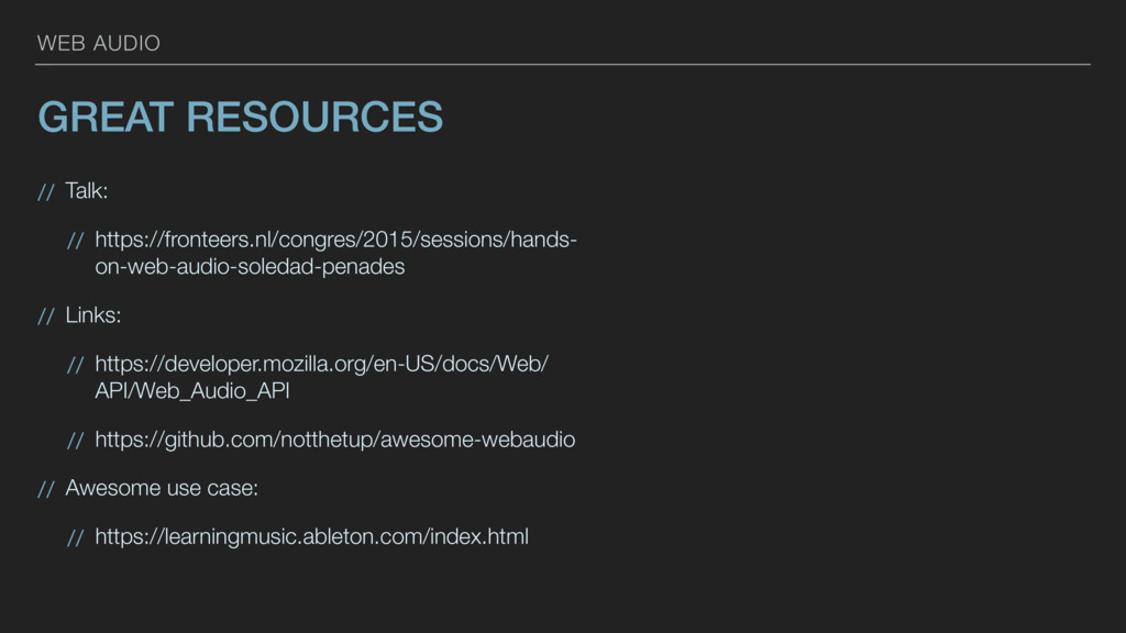 WEB AUDIO GREAT RESOURCES // Talk: // https://f...