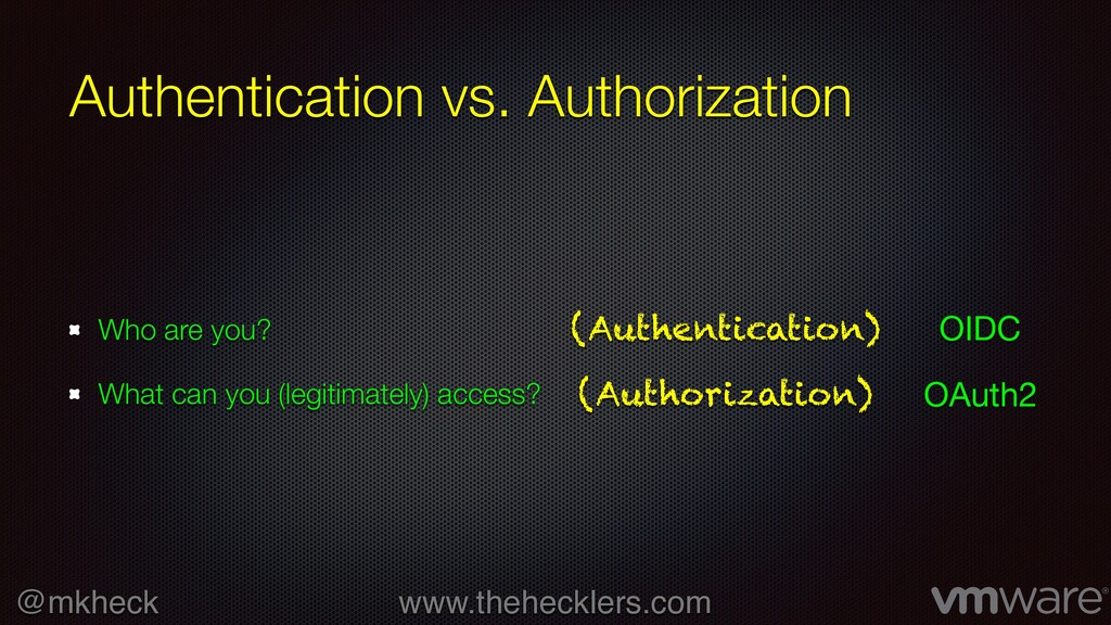 @mkheck www.thehecklers.com Authentication vs. ...