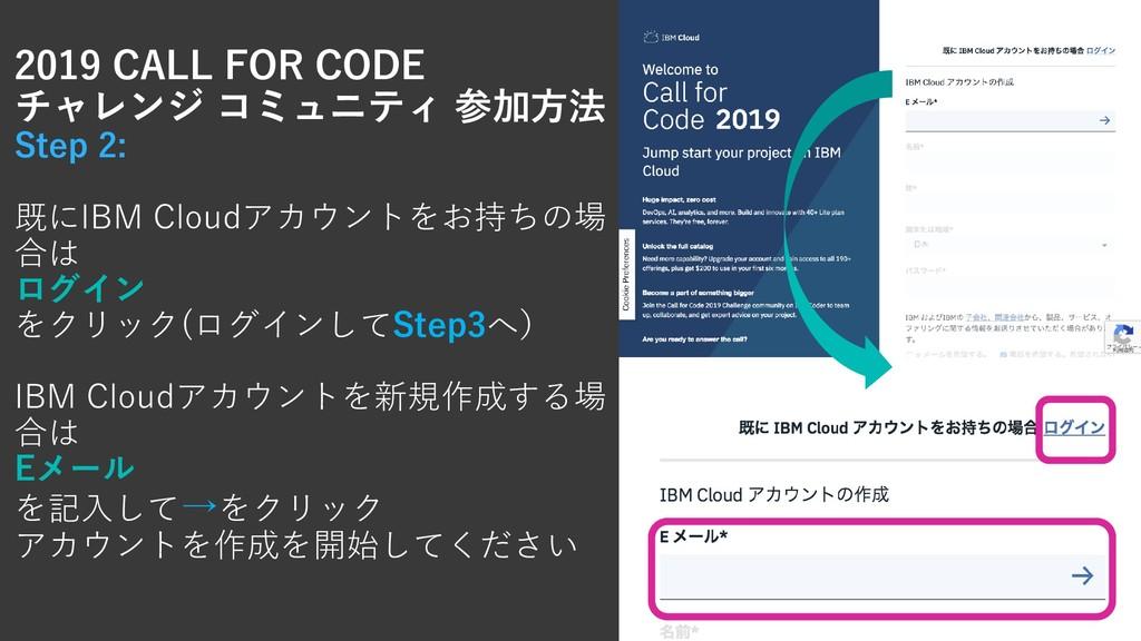 2019 CALL FOR CODE チャレンジ コミュニティ 参加方法 Step 2: 既に...