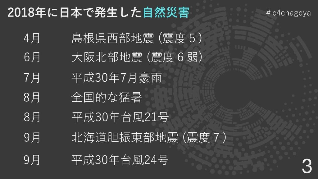 3 #c4cnagoya 4月 島根県西部地震 (震度5) 6月 大阪北部地震 (震度6弱) ...