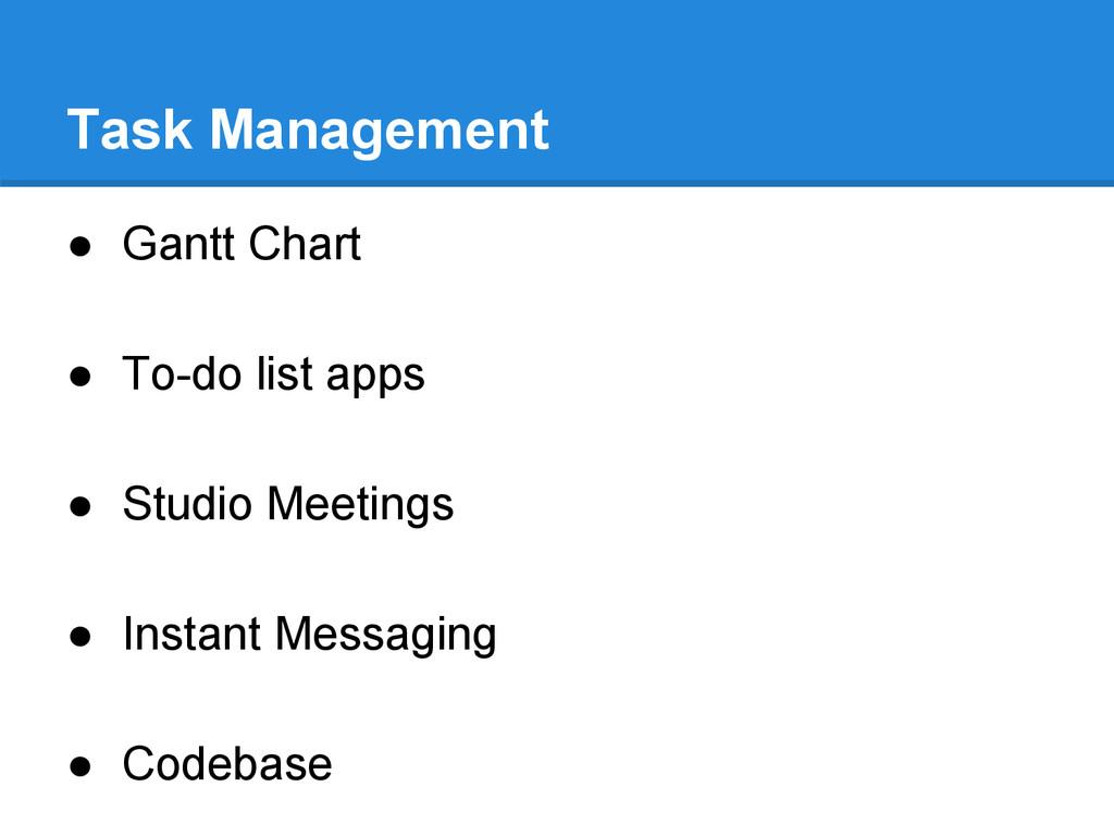 Task Management ● Gantt Chart ● To-do list apps...