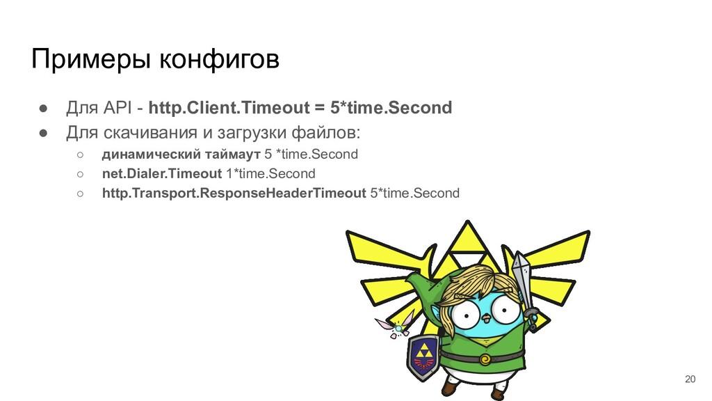 Примеры конфигов ● Для API - http.Client.Timeou...