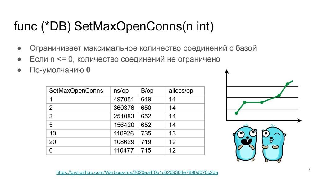 func (*DB) SetMaxOpenConns(n int) ● Ограничивае...