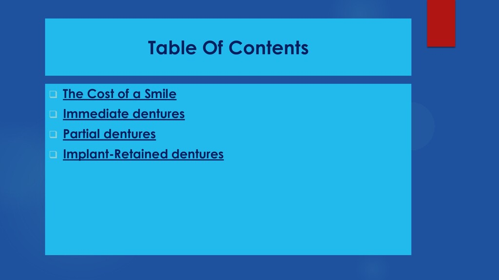 Table Of Contents  The Cost of a Smile  Immed...