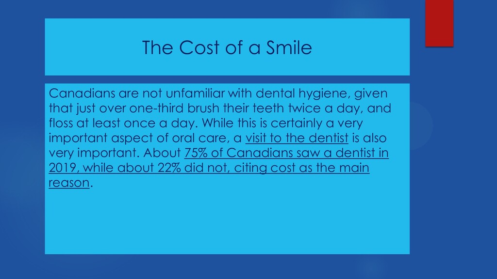The Cost of a Smile Canadians are not unfamilia...