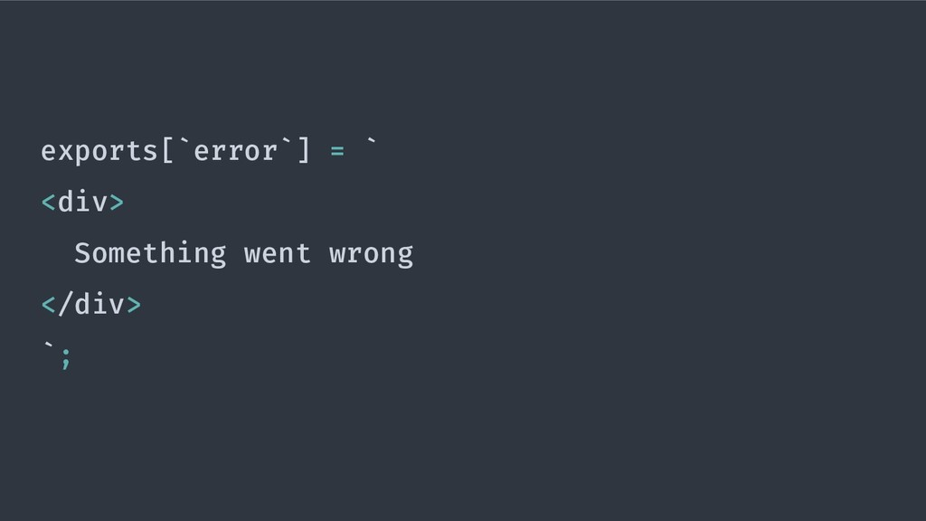 exports[`error`] = ` <div> Something went wrong...