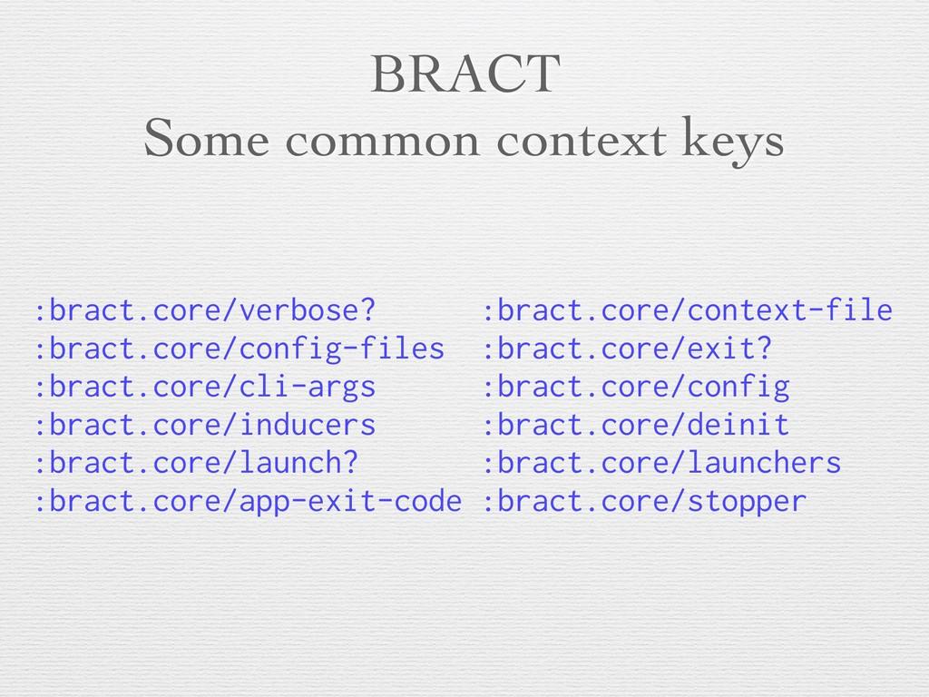 BRACT Some common context keys :bract.core/verb...