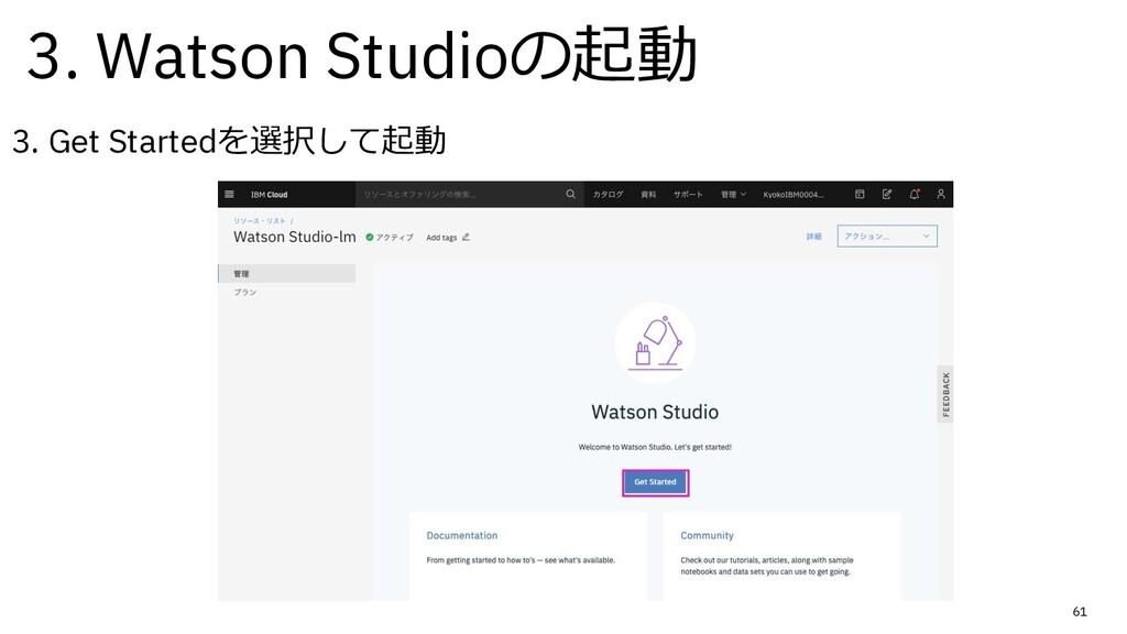 61 3. Get Startedを選択して起動 3. Watson Studioの起動