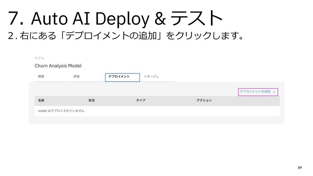 7. Auto AI Deploy & テスト 2. 右にある「デプロイメントの追加」をクリッ...