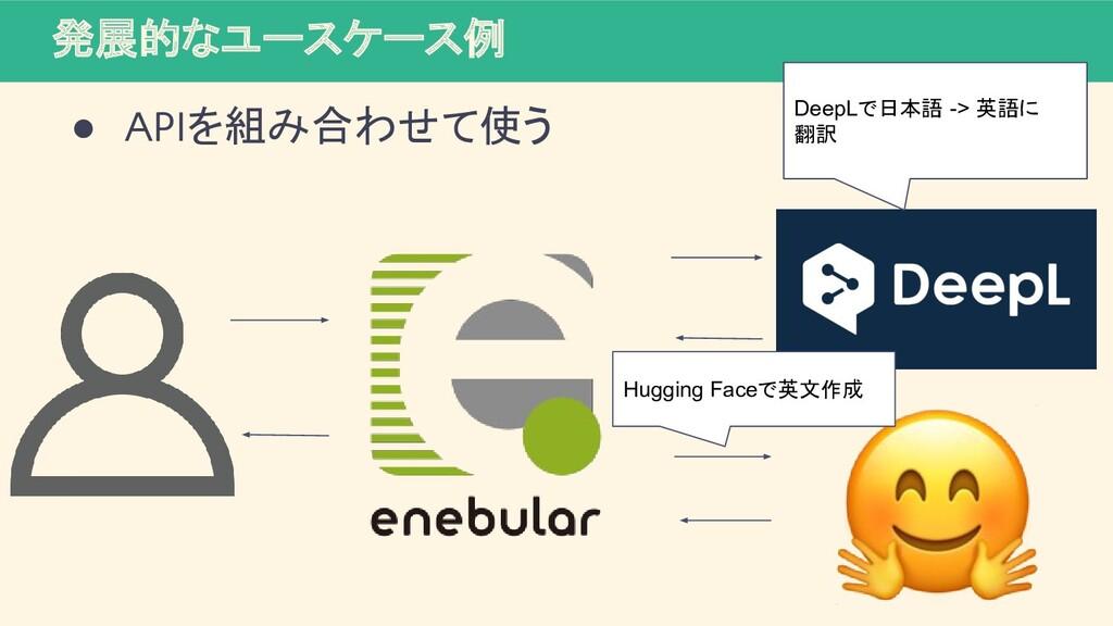 発展的なユースケース例 ● APIを組み合わせて使う DeepLで日本語 -> 英語に 翻訳 ...