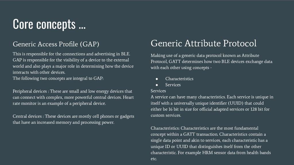 Core concepts ... Generic Access Profile (GAP) T...
