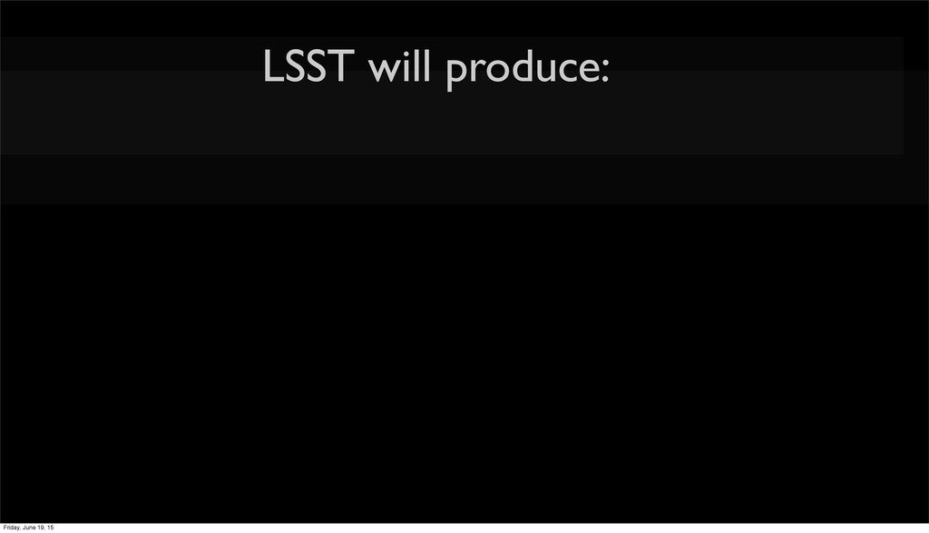 LSST will produce: Friday, June 19, 15