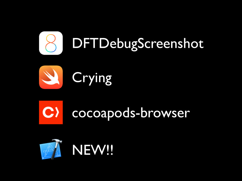 Crying DFTDebugScreenshot cocoapods-browser NEW...