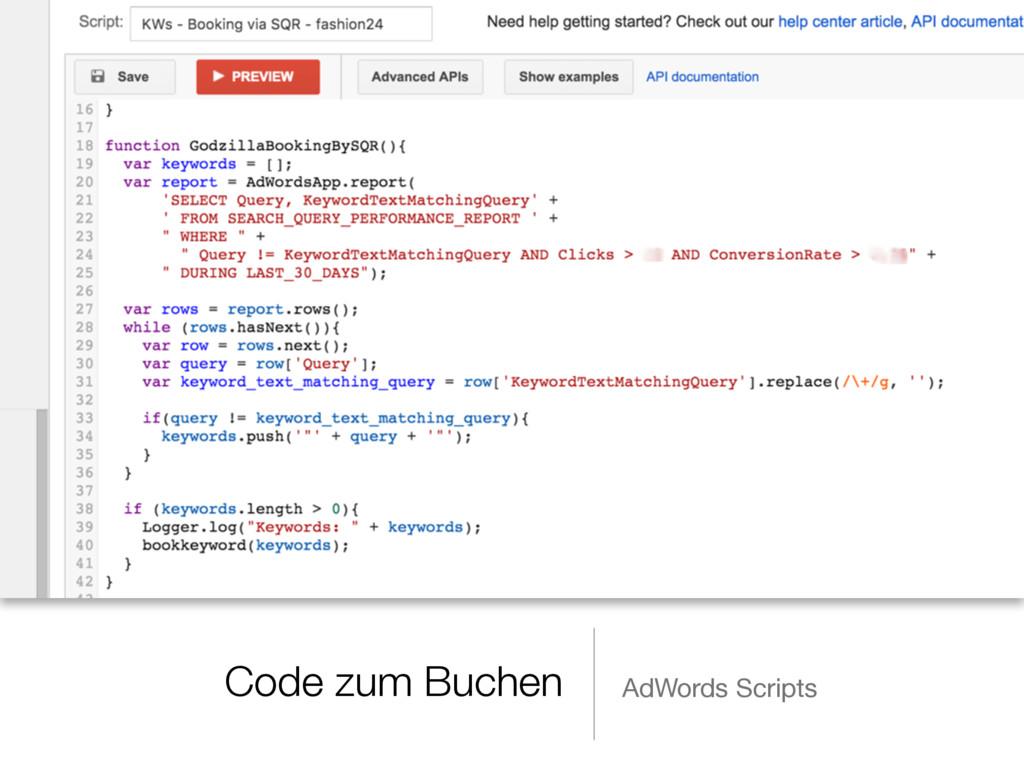 Code zum Buchen AdWords Scripts