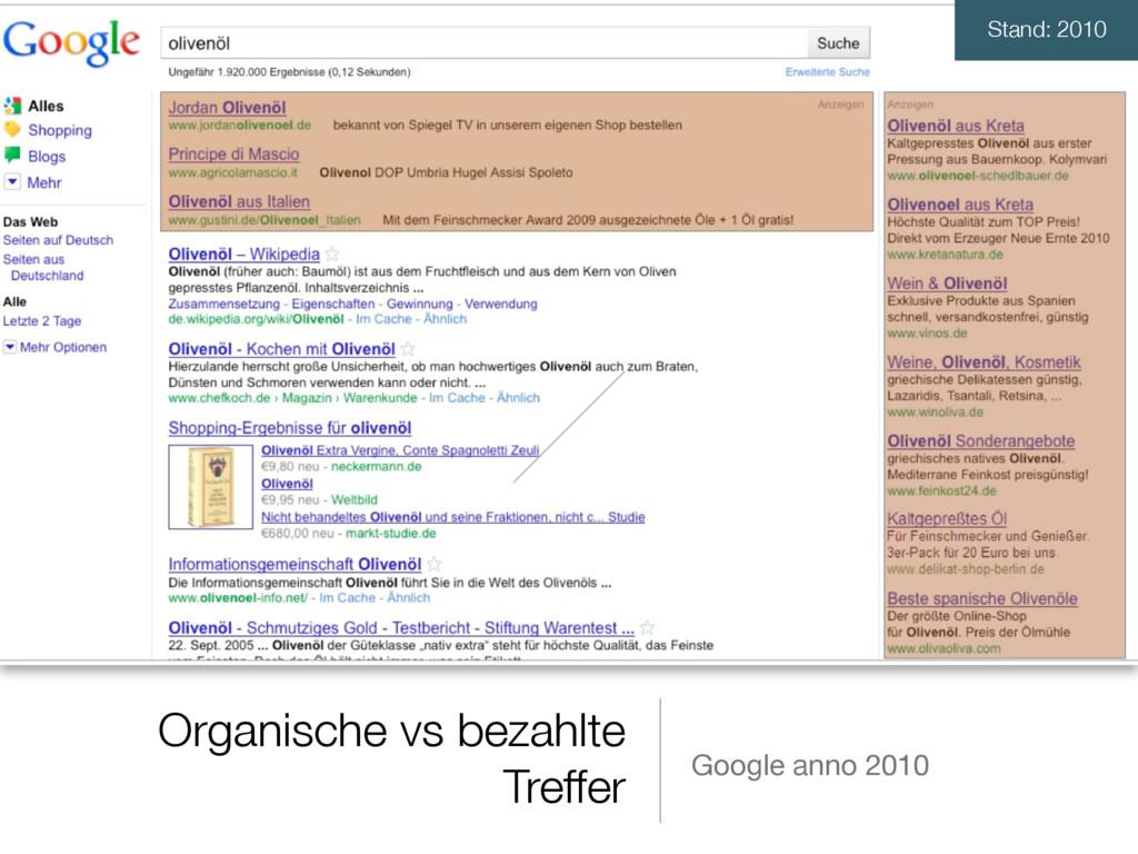 Organische vs bezahlte Treffer Google anno 2010...
