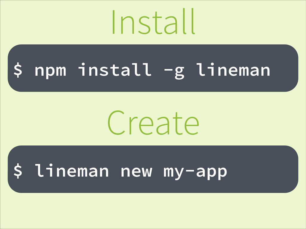 ! $ npm install -g lineman Install ! $ lineman ...
