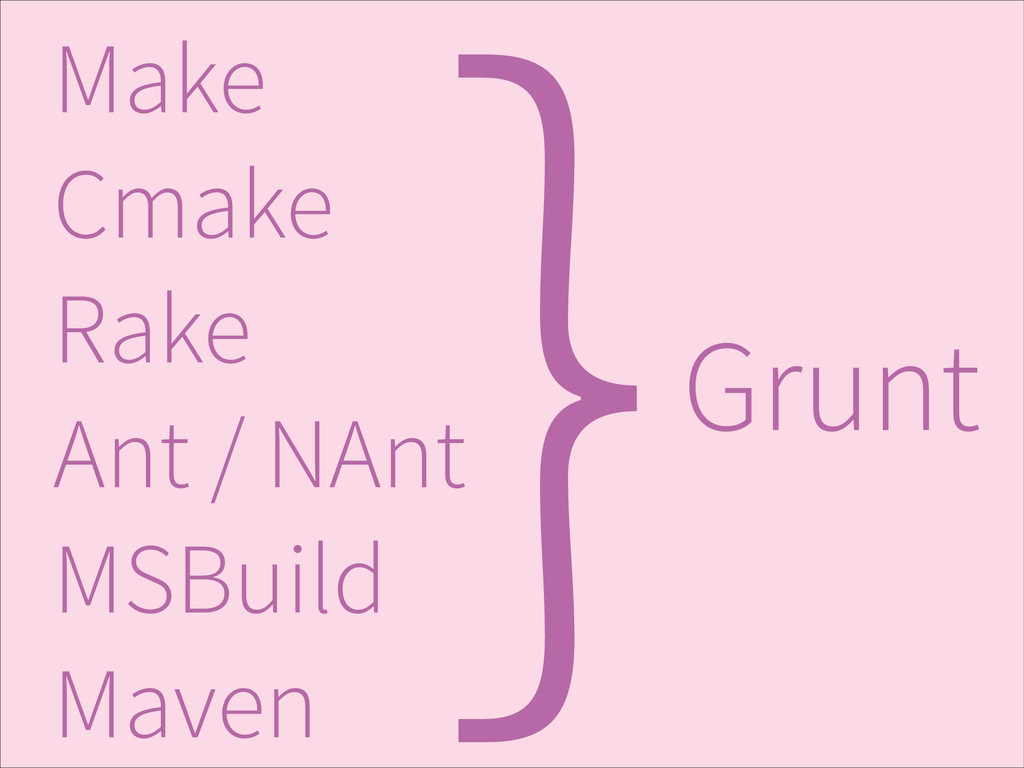 } Make Cmake Rake Ant / NAnt MSBuild Maven Grunt