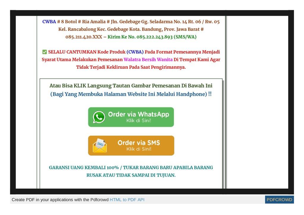 Contoh Pemesanan Walatra Bersih Wanita : CWBA #...