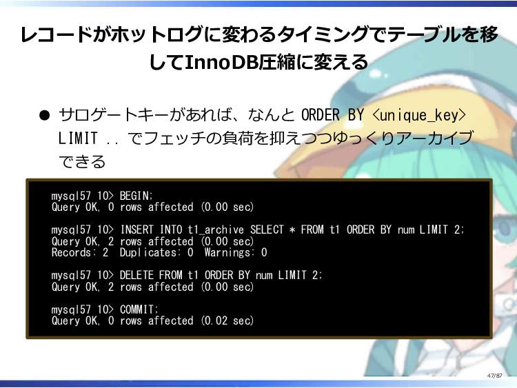 レコードがホットログに変わるタイミングでテーブルを移 してInnoDB圧縮に変える サロゲート...
