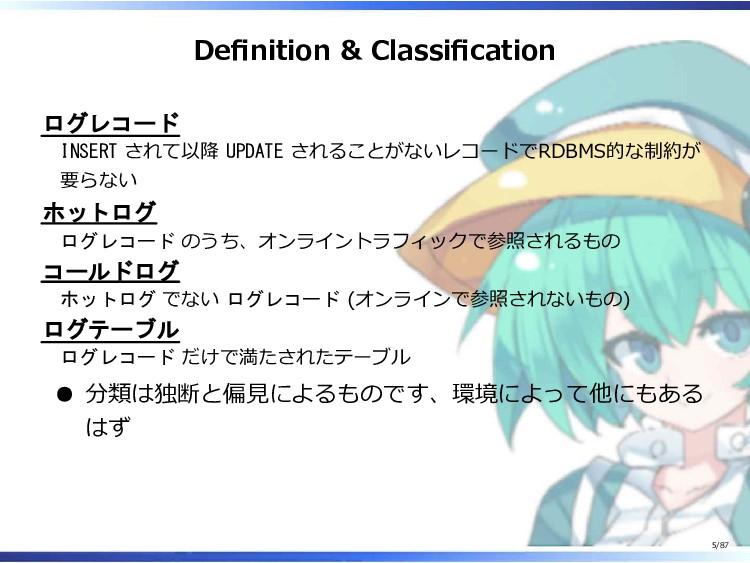 Definition & Classification ログレコード INSERT されて以降...
