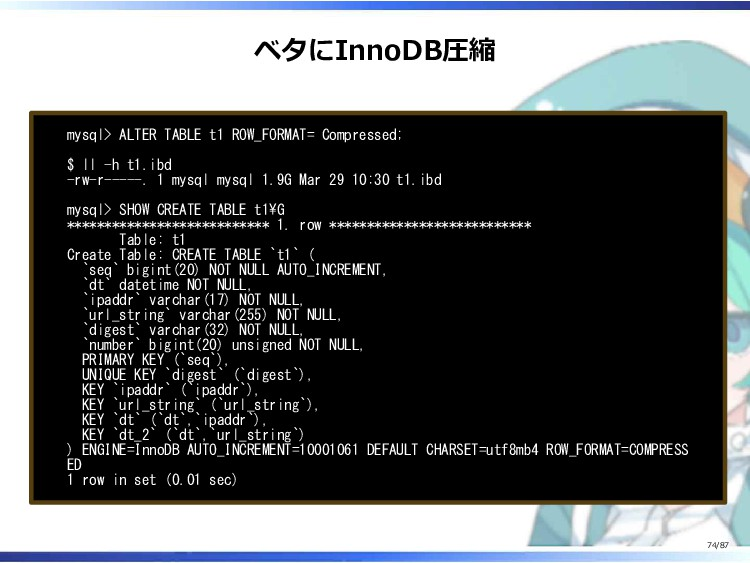 ベタにInnoDB圧縮 mysql> ALTER TABLE t1 ROW_FORMAT= C...